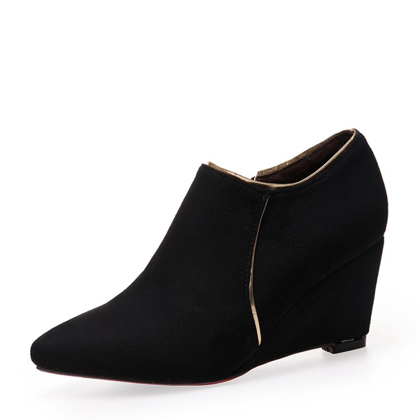 Frauen Veloursleder Keil Absatz Absatzschuhe Keile mit Reißverschluss Schuhe