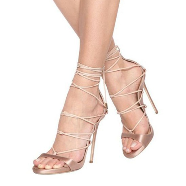 Women's Satin Stiletto Heel Sandals Pumps Peep Toe With Lace-up shoes