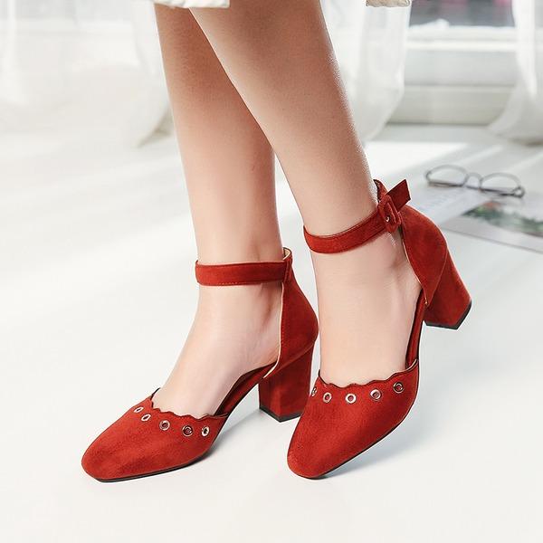 Femmes Suède Talon bottier Sandales Escarpins Bout fermé avec Boucle Ouvertes chaussures