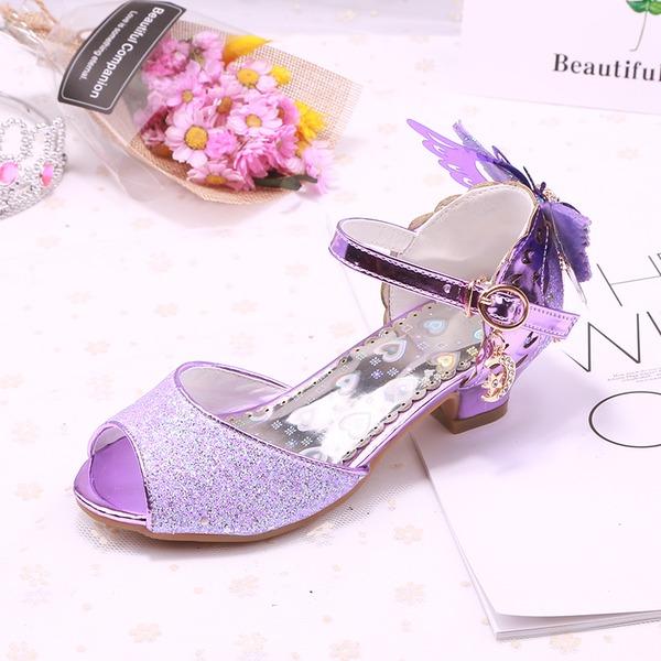 Fille de À bout ouvert similicuir Low Heel Escarpins Chaussures de fille de fleur avec Bowknot Boucle Pailletes scintillantes