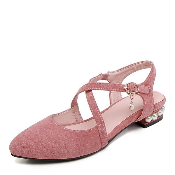 Femmes Suède Talon bas Chaussures plates avec Pearl chaussures