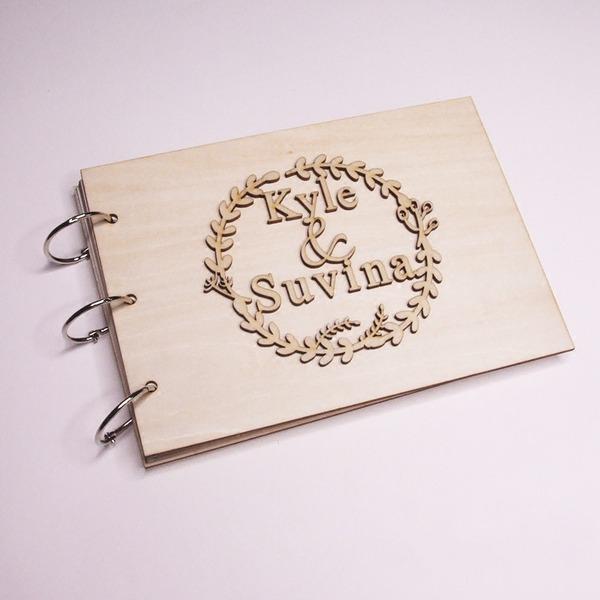 O design personalizado Madeira Livro de visitas