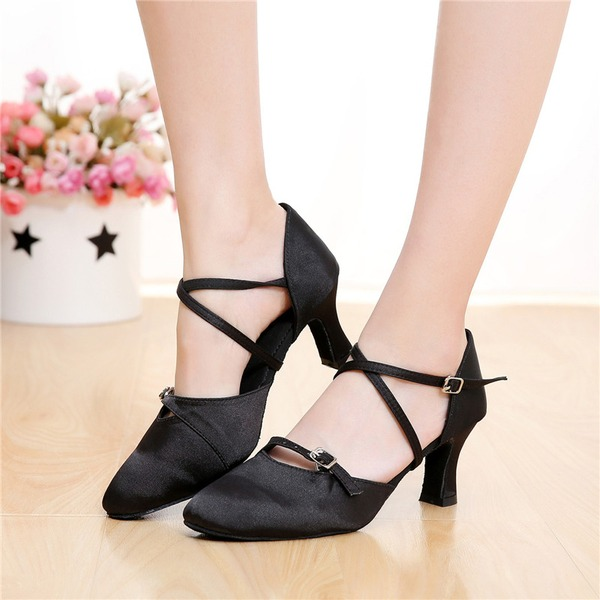 Women's Satin Heels Sandals Ballroom Swing With Buckle Hollow-out Dance Shoes