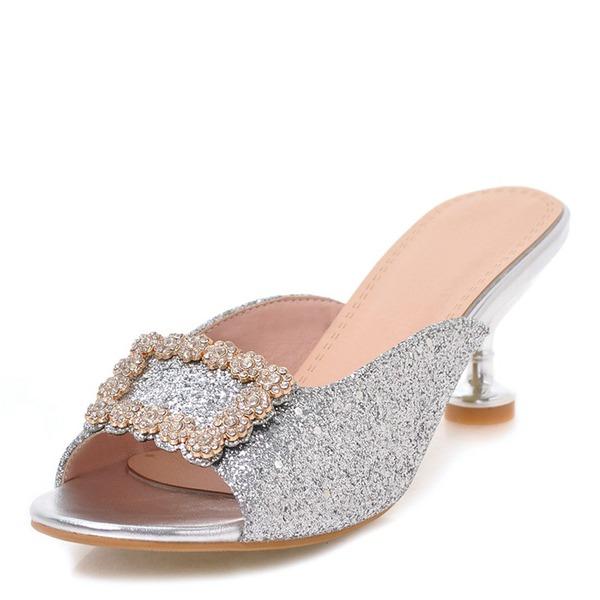 Femmes Pailletes scintillantes Talon stiletto Sandales Escarpins À bout ouvert Escarpins avec Strass Boucle chaussures