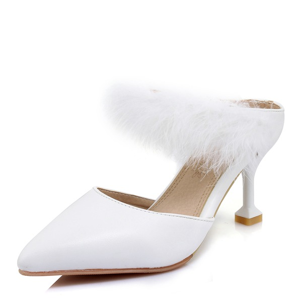 Women's Suede Stiletto Heel Sandals Pumps With Fur shoes