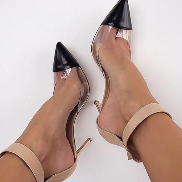 Mulheres PVC PU Salto agulha Bombas Fechados sapatos