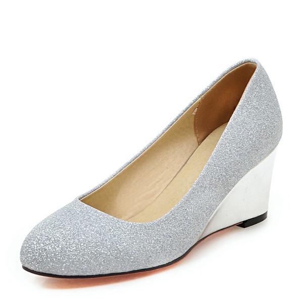 Kvinnor Glittrande Glitter Kilklack Pumps Stängt Toe Kilar med Andra skor