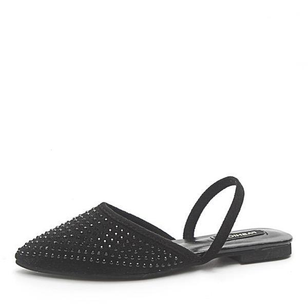 Femmes Suède Talon plat Chaussures plates Bout fermé Escarpins Chaussons avec Strass chaussures
