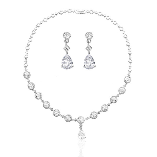 Ladies' Vintage Copper/Platinum Plated With Pear Crystal Jewelry Sets For Bride/For Couple