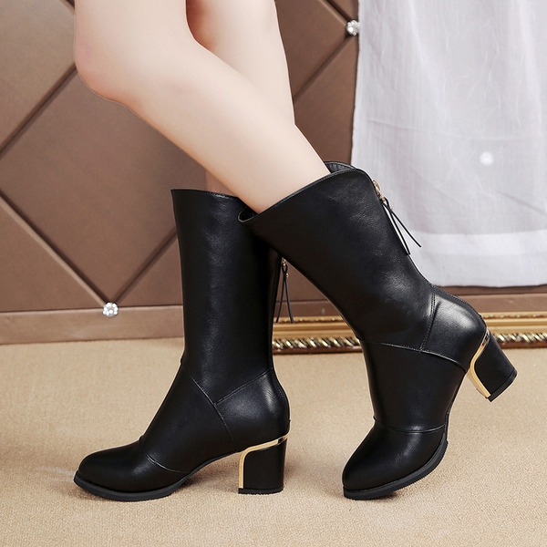 Women's Leatherette Chunky Heel Closed Toe Boots Mid-Calf Boots With Zipper shoes
