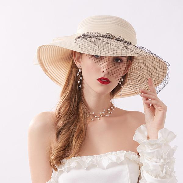 Bayanlar Klasik/Şık Tül Ile Tül Plaj / Güneş Şapkaları