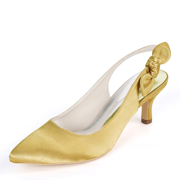 Women's Silk Like Satin Stiletto Heel Pumps Slingbacks With Bowknot Elastic Band
