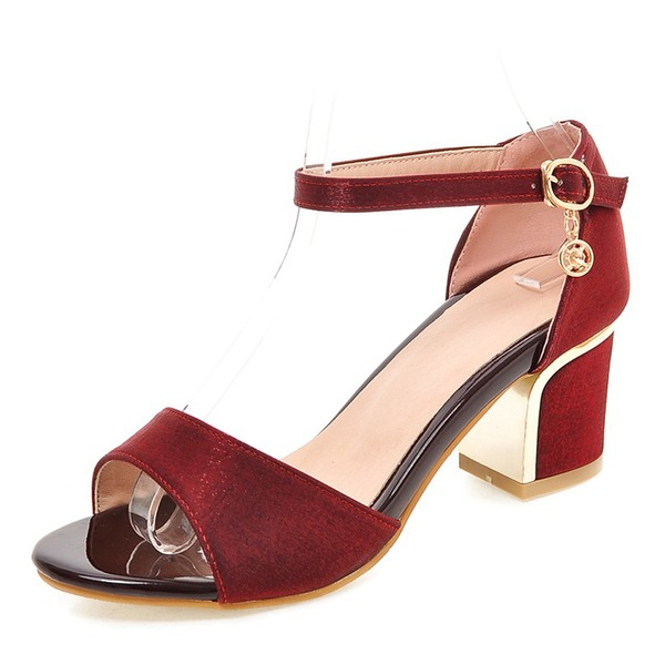 Women's Silk Like Satin Chunky Heel Sandals Pumps Peep Toe With Buckle shoes