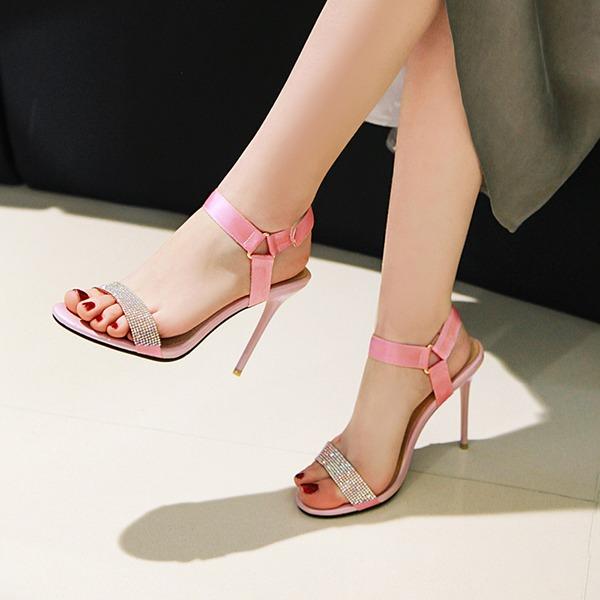 Frauen Stoff Stöckel Absatz Sandalen Absatzschuhe Peep Toe Schuhe