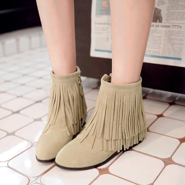 Frauen Veloursleder Niederiger Absatz Stiefel Stiefelette mit Reißverschluss Quaste Schuhe