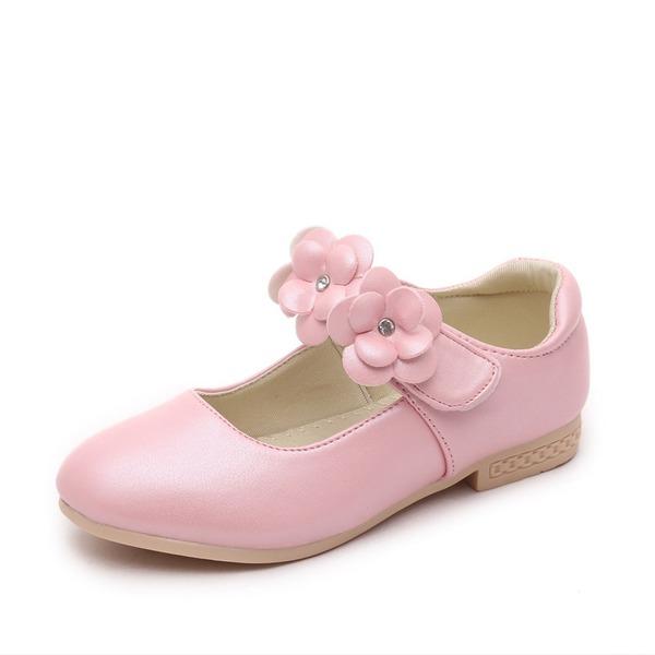 A menina de Fechados imitação de couro Heel plana Sem salto Sapatas do florista com Velcro Flor