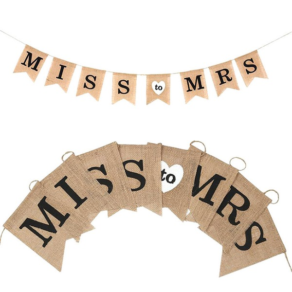 Miss to Mrs Bright Hemp Rope/Linen Banner (8 Pieces)