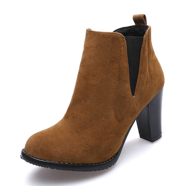 Women's Suede Stiletto Heel Pumps Closed Toe Boots Ankle Boots Mid-Calf Boots With Elastic Band shoes