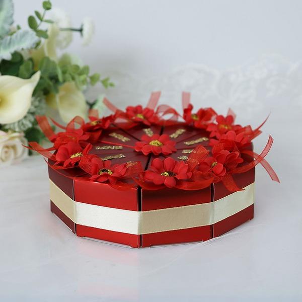 Amour doux Cubique Carte papier Boîtes cadeaux avec Fleur(s) (Lot de 10)