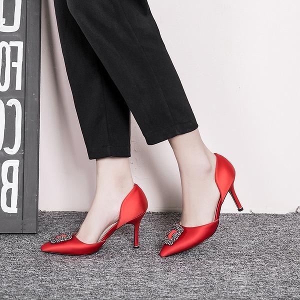 Femmes Soie Talon stiletto Escarpins Bout fermé avec Cristal chaussures