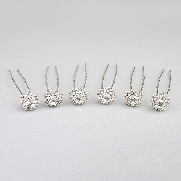 Ladies Elegant Alloy Hairpins With Crystal (Set of 6)