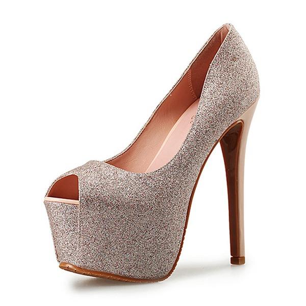 Women's Sparkling Glitter Stiletto Heel Pumps Platform Peep Toe shoes
