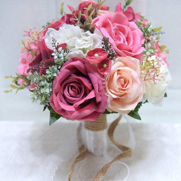 Sencillas y elegantes Redondo Flores Artificiales Ramos de novia (vendido en una sola pieza) -