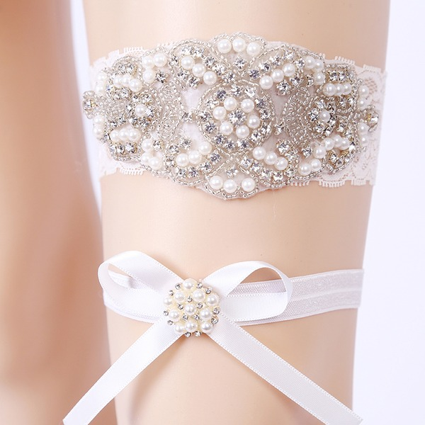 2-Piece/Elegant Lace With Rhinestone/Pearl Wedding Garters