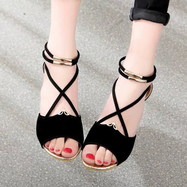 Frauen Veloursleder Keil Absatz Sandalen Keile Peep Toe mit Reißverschluss Schuhe