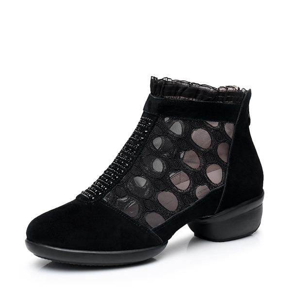 Femmes Vrai cuir Dentelle Mesh Tennis Bottes de Danse Chaussures de danse
