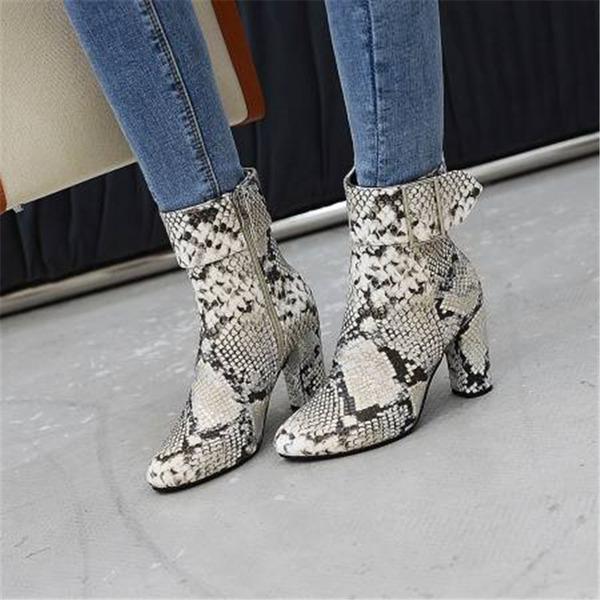 Dámské PU Široký podpatek Kotníkové boty S Na přezku obuv