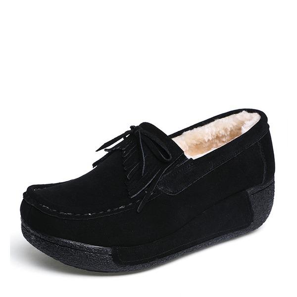 Kvinder Ruskind Kile Hæl Platform Lukket Tå Kiler med Bowknot Tassel sko