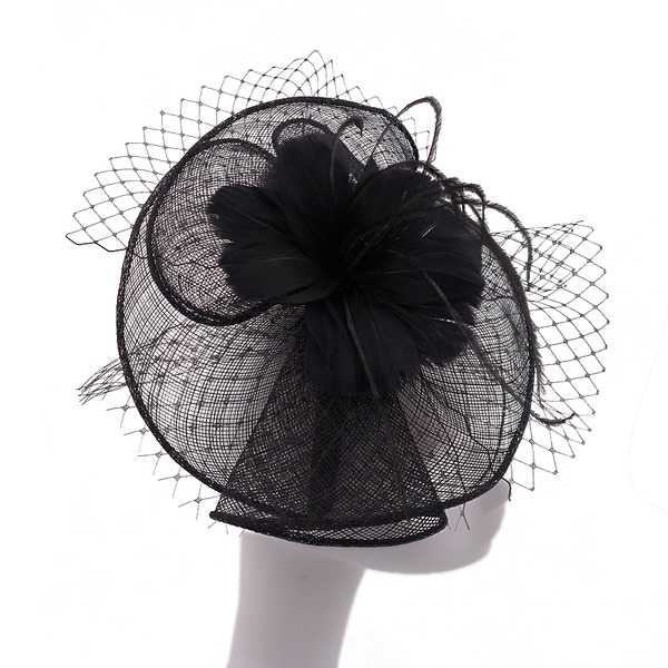 Signore Bella/Elegante/Romantico Cambrì con Piuma/Tyll Fascinators/Kentucky Derby Hats/Cappelli da Tea Party