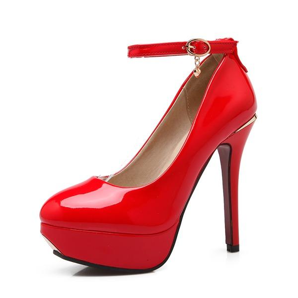 Mulheres Couro Brilhante Salto agulha Bombas Plataforma com Fivela sapatos