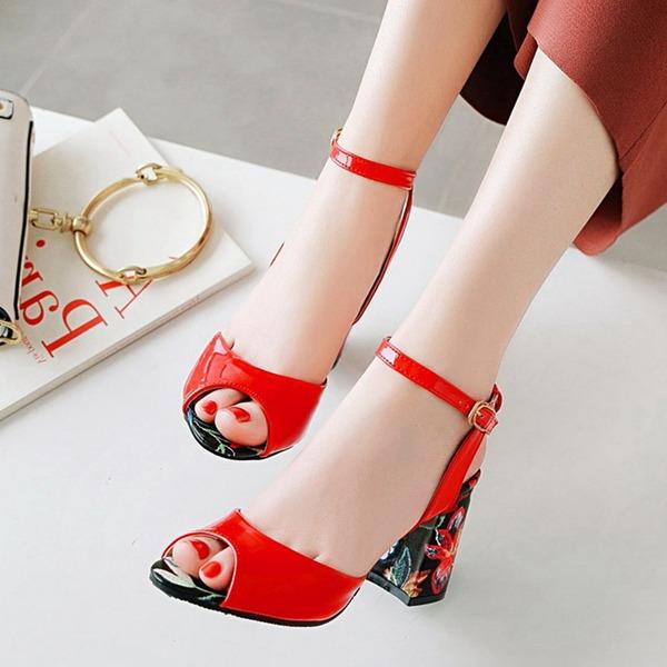 Naisten PU Chunky heel Sandaalit Avokkaat Kantiohihnakengät jossa Solki kengät
