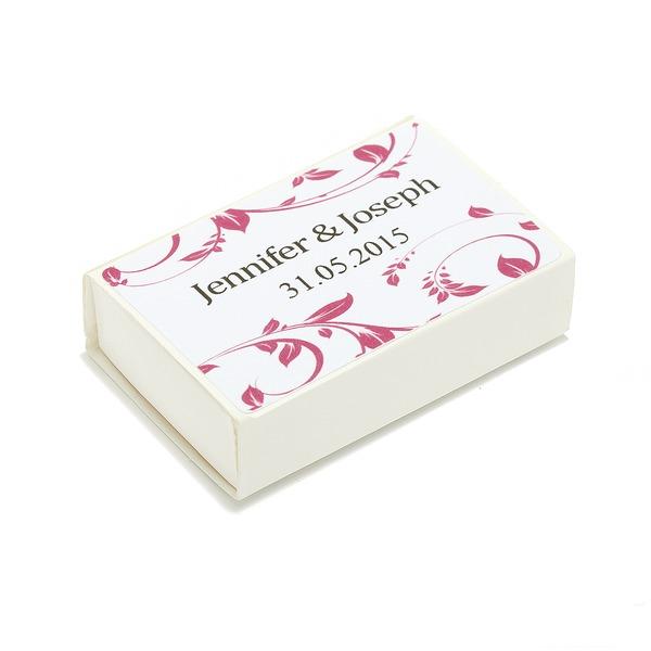 Personalizado Diseño Floral papel tarjeta duro Caja de Cerillos Personalizada (Juego de 12)