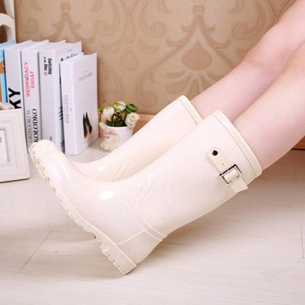 Femmes PVC Talon bas Bottes Bottes hautes Bottes de pluie avec Rivet Boucle chaussures