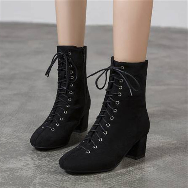 Women's Suede Chunky Heel Mid-Calf Boots With Lace-up shoes