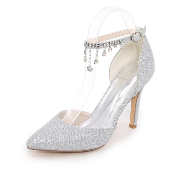 Vrouwen Sprankelende Glitter Stiletto Heel Pumps met Keten
