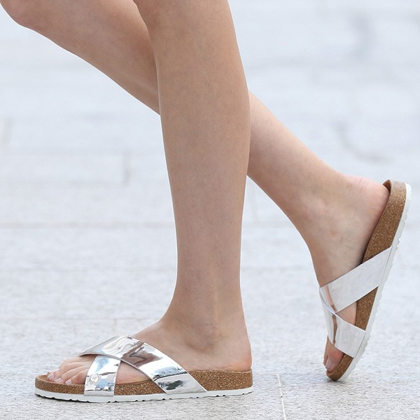 Femmes PU Talon plat Sandales Chaussures plates À bout ouvert Escarpins Chaussons avec Autres chaussures
