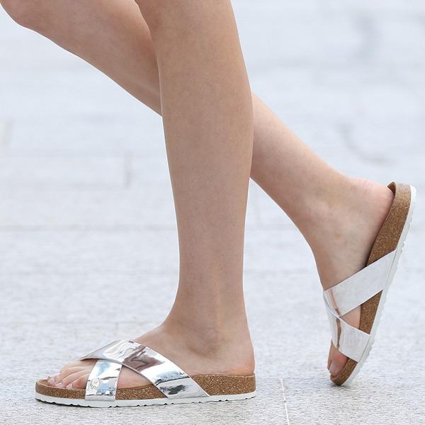 Women's PU Flat Heel Sandals Flats Peep Toe Slingbacks Slippers With Others shoes