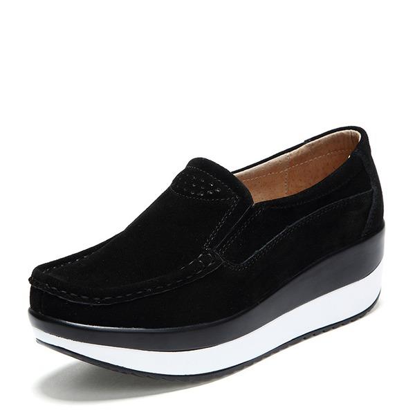 Kadın Süet Dolgu Topuk Platform Kapalı Toe Takozlar ayakkabı