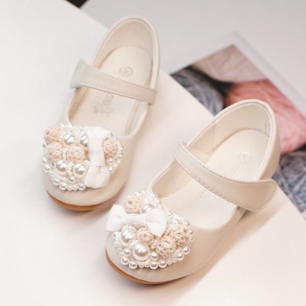 Mädchens Round Toe Geschlossene Zehe Leder Flache Schuhe mit Klettverschluss Blume