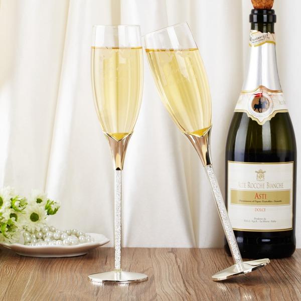 personnalisé Beaux Oiseaux Verre/Aluminium Flûtes à champagne (Lot de 2)