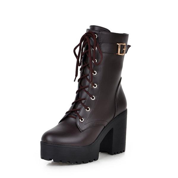 Женщины PU Устойчивый каблук На каблуках Ботинки Сапоги до середины голени с Шнуровка обувь
