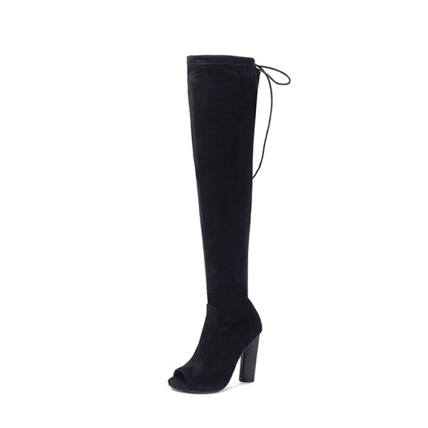 Women's Suede Stiletto Heel Boots Peep Toe Over The Knee Boots With Zipper Lace-up shoes