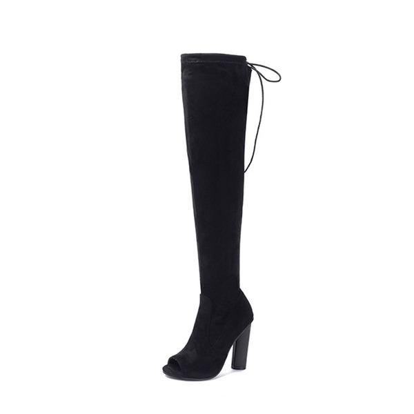 Donna Camoscio Tacco a spillo Stivali Punta aperta Stivali sopra il ginocchio con Cerniera Allacciato scarpe