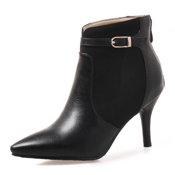 Mulheres Couro Salto agulha Fechados Botas Bota no tornozelo com Fivela Zíper sapatos