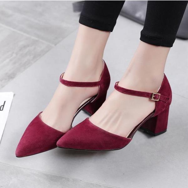Женщины Замша Устойчивый каблук На каблуках обувь