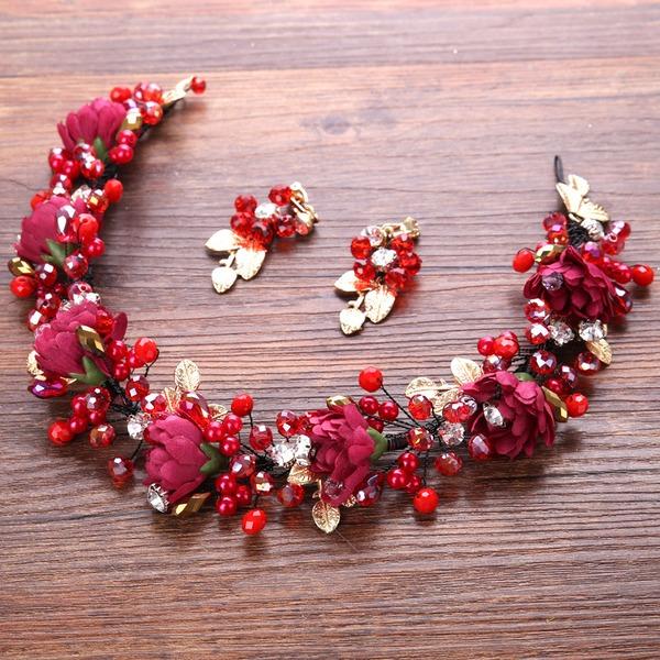 Kaunis Valetaskua helmi/Silkki kukka Liikuttunut jossa Tekojalokivi (Sarja 3)